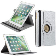 360 Degree Smart Rotating Leather Case and Screen Protector for iPad 9.7 (5th & 6th Generation) - Floral Silver