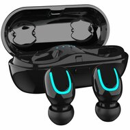 IPX6 Waterproof Noise Cancellation True Wireless Bluetooth V5.0 Headsets with Portable Charging Case - Black