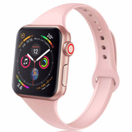 Skinny Band Design Silicone Watch Strap for Apple Watch 44mm / 42mm - Pink Sand