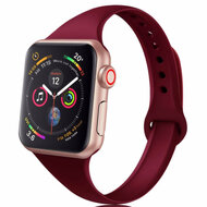 Skinny Band Design Silicone Watch Strap for Apple Watch 44mm / 42mm - Wine Red