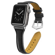 Slim Band Design Genuine Leather Watch Strap for Apple Watch 40mm / 38mm - Black