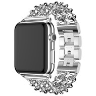 Stainless Steel Curb Link Bracelet Watch Band with Smart Knock Down Buckle for Apple Watch 44mm / 42mm - Silver