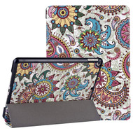 Smart Leather Folio Hybrid Case for iPad 10.2 inch (7th Generation) / iPad Air 3 / iPad Pro 10.5 - Paisley Sunflower