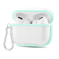 Transparent Hard Shell Protective Case with Carabiner Clip for Apple AirPods Pro - Mint