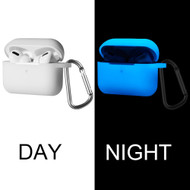 Glow-In-The-Dark Silicone Protective Case with Detachable Carabiner Clip for Apple AirPods Pro - White