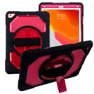 3-IN-1 Hybrid Armor Case with Rotatable Hand Strap and Stand for iPad 10.2 inch (7th Generation) - Red