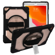 3-IN-1 Hybrid Armor Case with Rotatable Hand Strap and Stand for iPad 10.2 inch (7th Generation) - Black