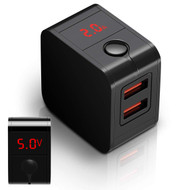 2.4 Amp Dual USB Travel Charger Adapter with Voltage and Current LED Display - Black