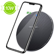 Ultra Thin Aluminum Charging Pad Qi Inductive Wireless Fast Charger - Black