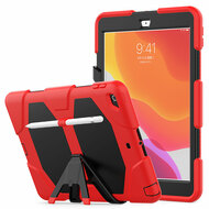 Military Grade Hybrid Armor Case with Kickstand and Screen Protector for iPad 10.2 inch (7th Generation) - Red