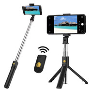 2-IN-1 Selfie Stick with Wireless Remote Shutter Button and Tripod - Black