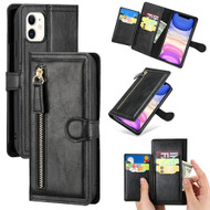 Xtra Series Zipper Leather Wallet Stand Case for iPhone 11 - Black