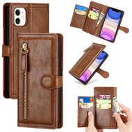Xtra Series Zipper Leather Wallet Stand Case for iPhone 11 - Brown