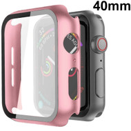 Defense Case with Integrated Tempered Glass Screen Protector for Apple Watch 40mm Series 5 / Series 4 - Pink