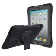Maximum Protection Rugged Hybrid Armor Case with Kickstand for iPad (2nd, 3rd and 4th Generation) - Black