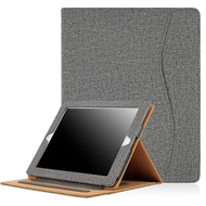 Slim Folding Smart Coated Canvas Folio Stand Case with Auto Wake / Sleep for iPad (2nd, 3rd and 4th Generation) - Grey
