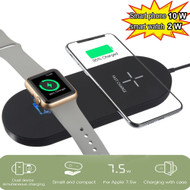 2-IN-1 10W Fast Qi Wireless Charging Pad + Apple Watch Magnetic Charger - Black