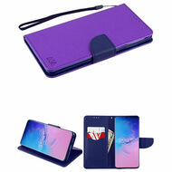 Crossgrain Series Diary Leather Wallet Stand Case for Samsung Galaxy S20 Ultra - Purple Navy Blue