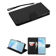 Crossgrain Series Diary Leather Wallet Stand Case for Samsung Galaxy S20 Plus - Black