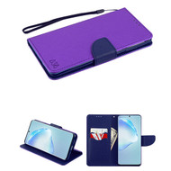 Crossgrain Series Diary Leather Wallet Stand Case for Samsung Galaxy S20 Plus - Purple Navy Blue