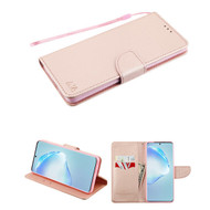 Crossgrain Series Diary Leather Wallet Stand Case for Samsung Galaxy S20 Plus - Rose Gold