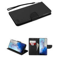 Crossgrain Series Diary Leather Wallet Stand Case for Samsung Galaxy S20 - Black