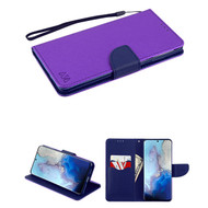 Crossgrain Series Diary Leather Wallet Stand Case for Samsung Galaxy S20 - Purple Navy Blue