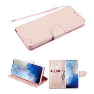 Crossgrain Series Diary Leather Wallet Stand Case for Samsung Galaxy S20 - Rose Gold