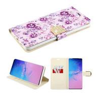 Diamond Series Luxury Bling Portfolio Leather Wallet Case for Samsung Galaxy S20 Ultra - Fresh Purple Flowers