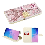 Diamond Series Luxury Bling Portfolio Leather Wallet Case for Samsung Galaxy S20 Ultra - Eiffel Tower
