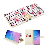 Diamond Series Luxury Bling Portfolio Leather Wallet Case for Samsung Galaxy S20 Ultra - Pink Fresh Roses