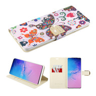 Diamond Series Luxury Bling Portfolio Leather Wallet Case for Samsung Galaxy S20 Ultra - Butterfly Wonderland