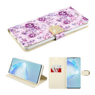 Diamond Series Luxury Bling Portfolio Leather Wallet Case for Samsung Galaxy S20 Plus - Fresh Purple Flowers