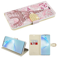 Diamond Series Luxury Bling Portfolio Leather Wallet Case for Samsung Galaxy S20 Plus - Eiffel Tower
