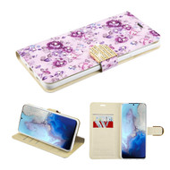 Diamond Series Luxury Bling Portfolio Leather Wallet Case for Samsung Galaxy S20 - Fresh Purple Flowers
