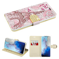 Diamond Series Luxury Bling Portfolio Leather Wallet Case for Samsung Galaxy S20 - Eiffel Tower