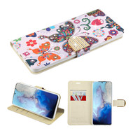 Diamond Series Luxury Bling Portfolio Leather Wallet Case for Samsung Galaxy S20 - Butterfly Wonderland