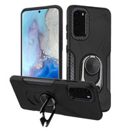Multifunctional Hybrid Case with 360° Bottle Opener Rotating Ring Holder Kickstand for Samsung Galaxy S20 - Black
