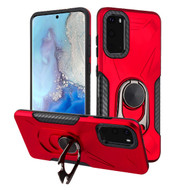 Multifunctional Hybrid Case with 360° Bottle Opener Rotating Ring Holder Kickstand for Samsung Galaxy S20 - Red