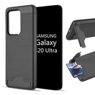 KardCase Hybrid Case with Card Compartment and Kickstand for Samsung Galaxy S20 Ultra - Black