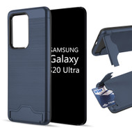 KardCase Hybrid Case with Card Compartment and Kickstand for Samsung Galaxy S20 Ultra - Navy Blue