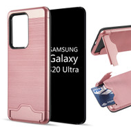 KardCase Hybrid Case with Card Compartment and Kickstand for Samsung Galaxy S20 Ultra - Rose Gold