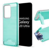 KardCase Hybrid Case with Card Compartment and Kickstand for Samsung Galaxy S20 Ultra - Teal