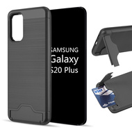 KardCase Hybrid Case with Card Compartment and Kickstand for Samsung Galaxy S20 Plus - Black