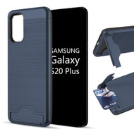 KardCase Hybrid Case with Card Compartment and Kickstand for Samsung Galaxy S20 Plus - Navy Blue
