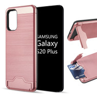 KardCase Hybrid Case with Card Compartment and Kickstand for Samsung Galaxy S20 Plus - Rose Gold