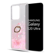 Quicksand Glitter Waterfall Case with 360° Rotating Ring Holder for Samsung Galaxy S20 Ultra - Pink
