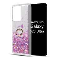 Quicksand Glitter Waterfall Case with 360° Rotating Ring Holder for Samsung Galaxy S20 Ultra - Purple