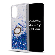 Quicksand Glitter Waterfall Case with 360° Rotating Ring Holder for Samsung Galaxy S20 Plus - Blue