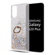 Quicksand Glitter Waterfall Case with 360° Rotating Ring Holder for Samsung Galaxy S20 Plus - Silver